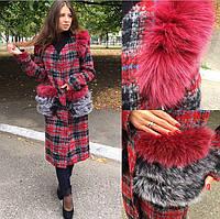 Женское пальто с натуральным мехом (писец)