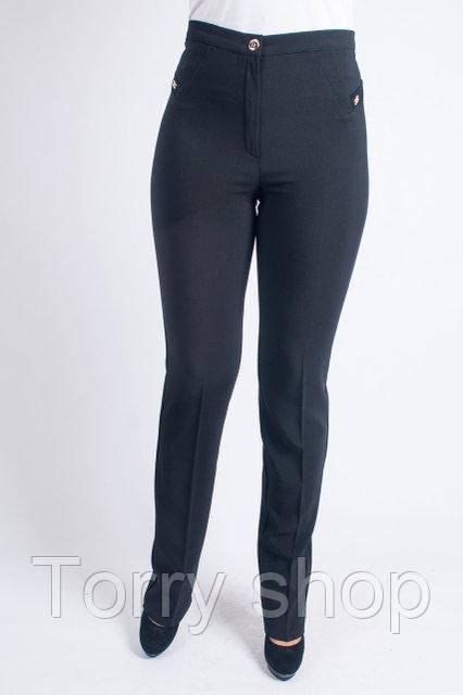 Классические женские брюки с прямой штаниной черного цвета