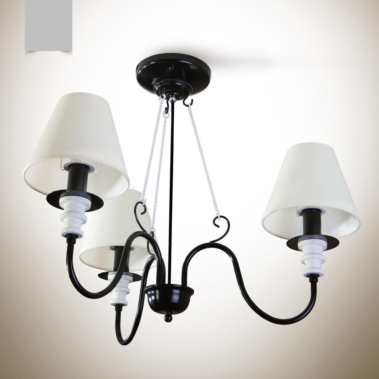 Люстра 3-х ламповая черно-белая с абажурами для спальни 12333-3