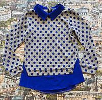 Рубашка-обманка электрик+серый в горох для девочки 134см
