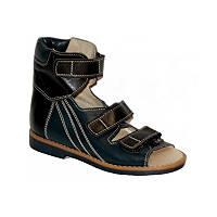 Ортопедические сандалии для мальчика из натуральной кожи с высоким задником на подошве с каблуком Томаса