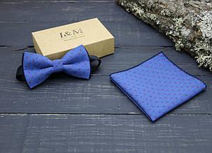 Набор I&M Craft Галстук-бабочка + платок в пиджак синий (011105)