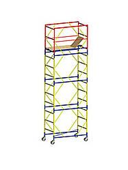 Вышка-тура (0,8х1,7 м) 4+1 (Без домкратов) строительная передвижная на колесах металлическая ( стальная )