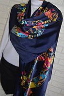 Шелковый шарф палантин Chanel (Шанель) синий