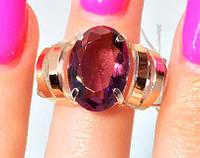 Кольцо серебряное с золотыми накладками Фламинго с турмалином