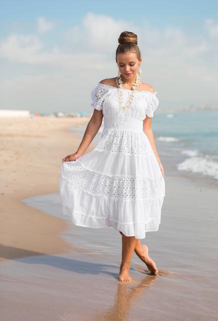 Сарафан, платье женское летнее белое из хлопка Индиано AnastaSea 645 F-1C