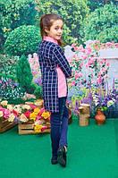 Детская блузка-рубашка темно-синяя+розовая для девочки-подростка 36, 38, 40, 42, 44р