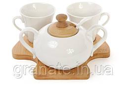 Кофейный набор: 2 чашки+ сахарница на бамбуковой подставке