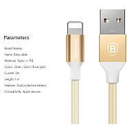 Baseus USBdata cable 1 м экранированныйLightningкабель для продуктов Apple Iphone, ipad 2A gold (золотой)