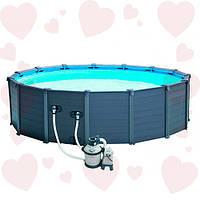 Intex 28382 (478х124 см.) Каркасный бассейн под дерево+ Песочный насос-фильтр, лестница, тент, подстилка