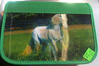 """Пенал на 1 отделения и 1 отворот """"Две картинки на одном пенале - Лошадь с жеребёнком, Конь"""" Kalnex"""