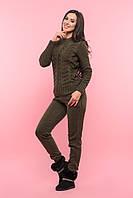 Вязаный женский костюм цвета хаки, фото 1