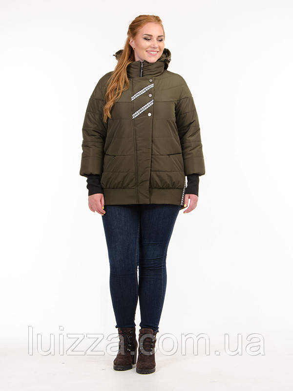 Женская куртка деми, с манжетами 44 -52 рр хаки