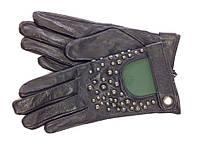 RANNA 19130 перчатки женские кожаные  подкладка шёлк черная
