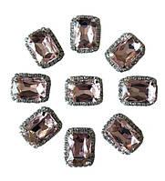 Стразы Розовые камни стеклянные (кристаллы) в цапах имитация Сваровски 18x23 мм 2 шт/уп, фото 1