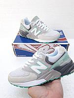 """Кроссовки женские замшевые  New Balance 999 Gray/Mint """"Серые с зеленым"""""""