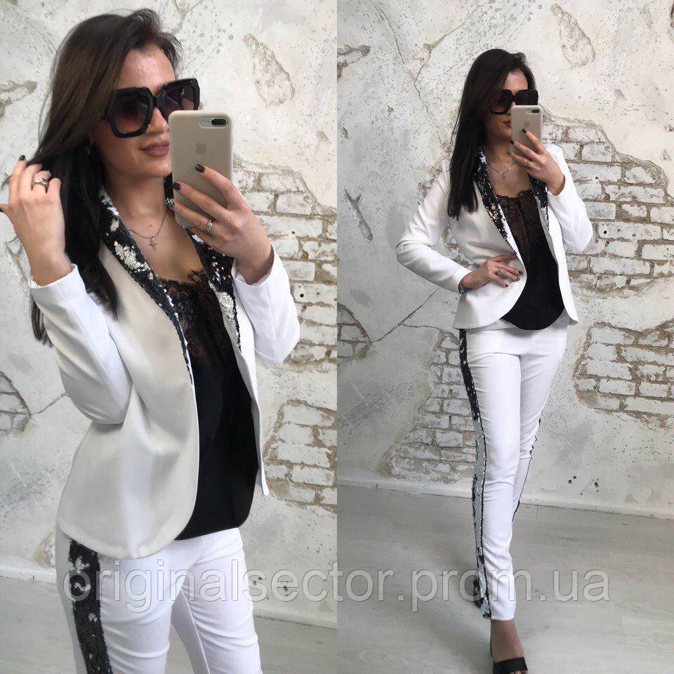 37526fccd3a Женский нарядный брючный костюм с пайетками - интернет-магазин