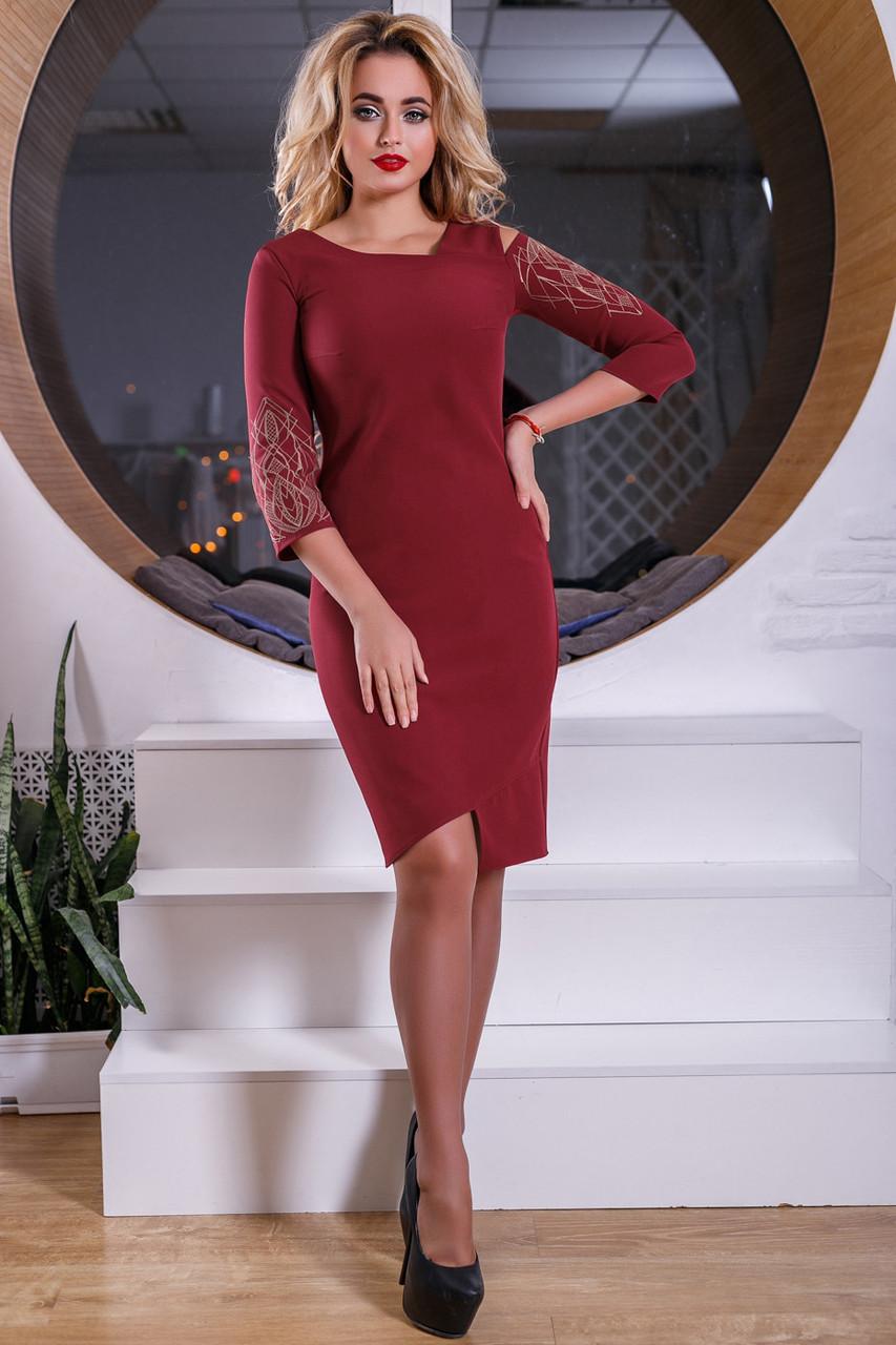 fb42e0a8944971e Купить Красивое бордовое платье 2560 оптом и в розницу в Хмельницком ...