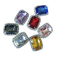 Стразы Цветные камни стеклянные (кристаллы) в цапах имитация Сваровски 18x23 мм Набор из 7 штук, фото 1