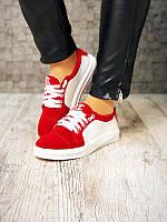 Женские кеды Chanel кожа/замша красные/черные Uk0526