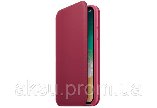 Leather Folio for iPhone X (Berry)