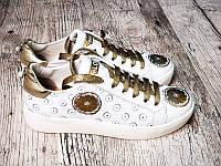 Женские кеды модные кожаные белые с золотом Uk0527