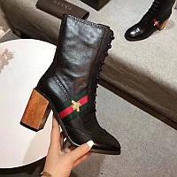 Женские кожанные ботинки Gucci