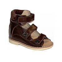 Ортопедические сандалии коричневые из натуральной кожи с высоким задником на подошве с каблуком Томаса
