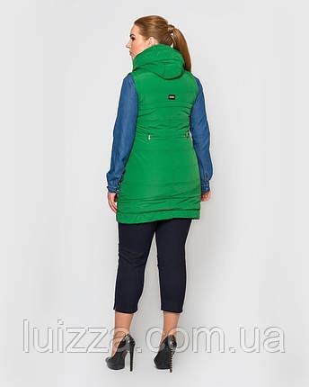 Молодежный длинный жилет из матовой плащевки  42-52р зеленый , фото 2