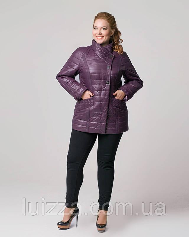 Женская куртка из плащевки лакэ 46-54рр слива 54