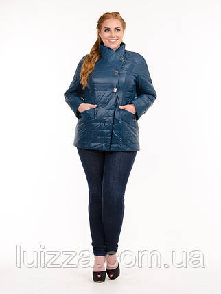 Женская куртка из плащевки лакэ 46-54рр синий 52, фото 2