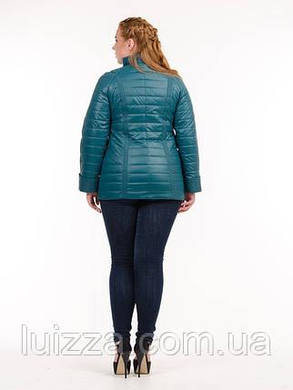 Женская куртка из плащевки лакэ 46-54рр изумруд, фото 2