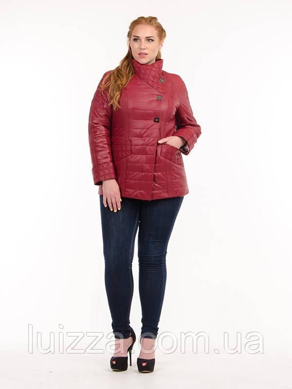 Женская куртка из плащевки лакэ 46-54рр бордо 54