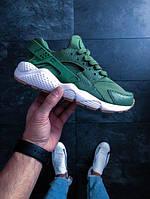 Женские кроссовки Найк Хуарачи (реплика) Nike Air Huarache Run кожаные зеленые