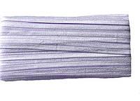 Резинка-бейка эластичная Сиреневая с блеском для повязок на голову, бретелек 1.5 см 3 м/уп, фото 1