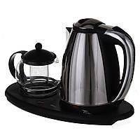 Электрочайник 1,8 л + чайник заварник 500 млна подставке 1342-ОС