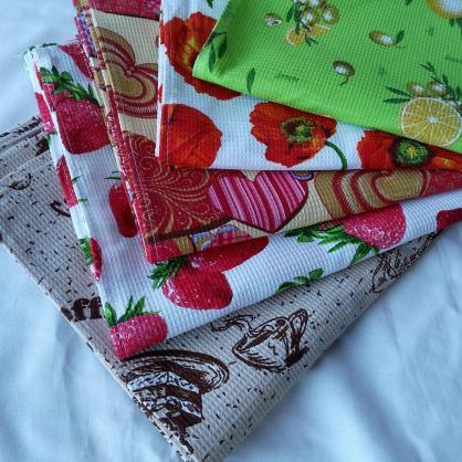 Вафельные полотенца для кухни Украина, отличное качество. Различные расцветки Арт. 401
