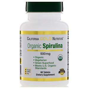 California Gold Nutrition, Spirulina, USDA Certified Organic, Vegetarian, 500 mg, 60 Tablets
