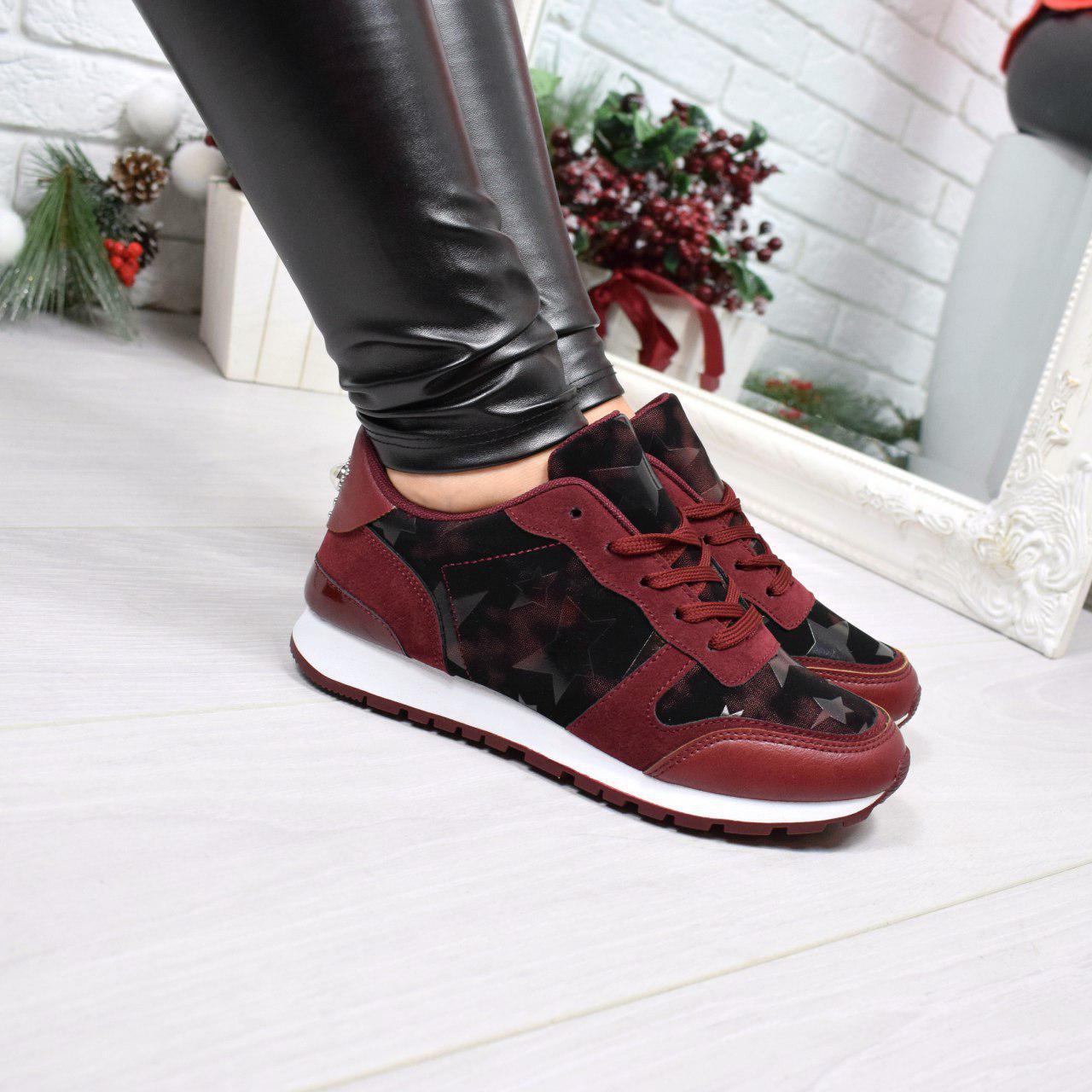 """(36 и 37 РАЗМЕРЫ) Кроссовки, кеды, мокасины женские бордо """"Stars"""", эко кожа, спортивная обувь"""