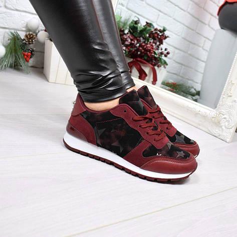 """(36 и 37 РАЗМЕРЫ) Кроссовки, кеды, мокасины женские бордо """"Stars"""", эко кожа, спортивная обувь, фото 2"""