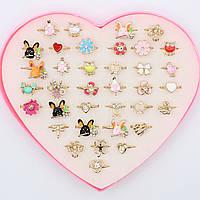 Кольца детские декорированы камнем Упаковка 36 штук