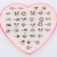 Кольца детские декорированы цветными камушками Упаковка 36 штук