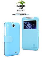 Кожаный чехол книжка Nillkin для HTC Desire 310 голубой, фото 1