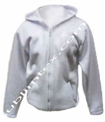Толстовка мужская, на молнии, карман кенгуру, цвет белый,для сублимации, футор с начесом, размер 3XL, фото 2