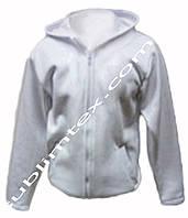 Толстовка мужская, на молнии, карман кенгуру, цвет белый,для сублимации, футор с начесом, размер 4XL