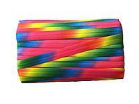 Резинка-бейка эластичная Разноцветная Радуга для повязок на голову, бретелек 1.5 см 3 м/уп, фото 1