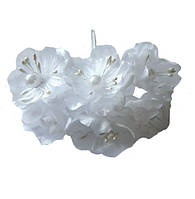 Белые Яблони Цветы из ткани (тканевые) с бусинками и тычинками D3,5 см Декоративный букетик 6 шт/уп