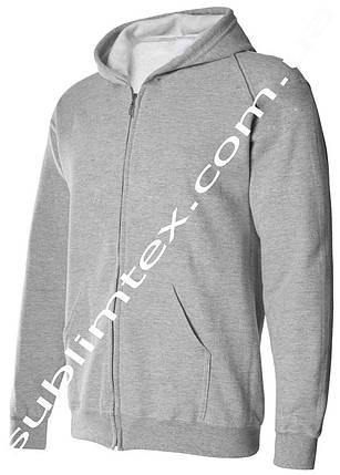 Толстовка мужская, на молнии, карман кенгуру,серый меланж, для сублимации, футор с начесом, размер XXL, фото 2