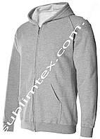 Толстовка мужская, на молнии, карман кенгуру,серый меланж, для сублимации, футор с начесом, размер L