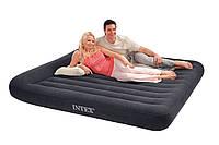 Надувной матрас Intex 66770 (203х183х23 см) черный, двуспальный с подголовником